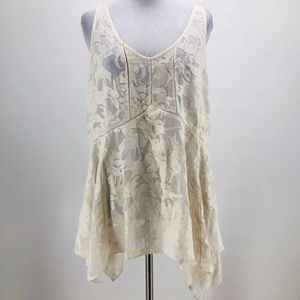 Vanessa Virginia Ivory Lace V-Neck Tunic Size S